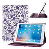 TOPCHANCES Slim Mordern Smart Cover Case for the iPad Air, iPad 5 with Auto Sleep/Wake Function Built in Stand-Green Embossed Flowerss Case (Humulan Light Purple)