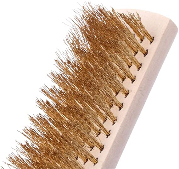 Copper Wire Brass Briste Wood Handle Wire 208mm Scratch Brush For Metal Cleaning