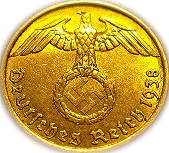 #10 1 Reichspfennig 1937-1939 Coin wth SWASTIKA Stamp WW2