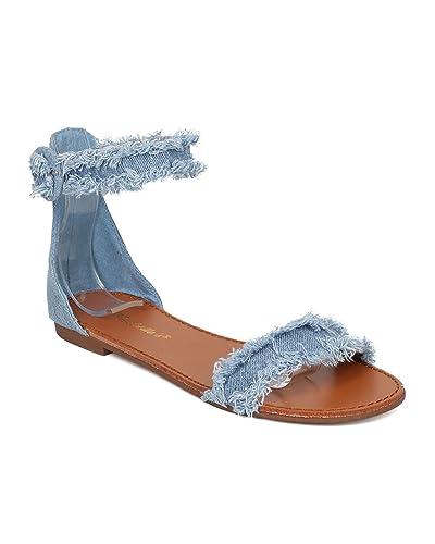 Amazon.com | Breckelle's Women Frayed Denim Sandal - Ankle Strap Sandal -  Open Toe Flat Sandal - GH50 by Blue Denim (Size: 6.0) | Flats