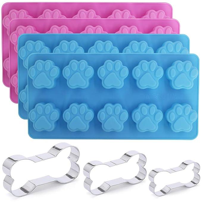 4 paquetes de molde de silicona para huellas de perro y 3 paquetes de cortador de hueso de acero inoxidable, surtido de diferentes tamaños para galletas de ...