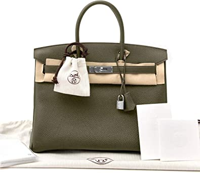 e89d1b793013 Image Unavailable. Image not available for. Color: Hermes Birkin Bag 35  Togo Canopee Green ...