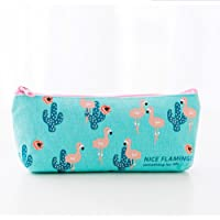 Spaufu Cute Cartoon Pencil Case Form of Flamingo Pattern for Girls Students Offices School Simple Canvas Stationery Pouch with Zipper Storage Bag Cosmetic Pouch Multifunctional Bag Various Styles 1pack