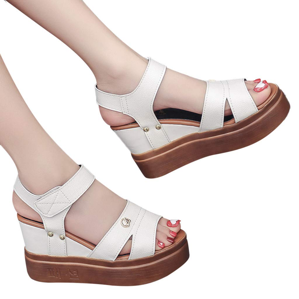 Lurryly Summer Women Sandals Wedges Shoes Fish Mouth Shoes Thick Bottom Roman Sandals