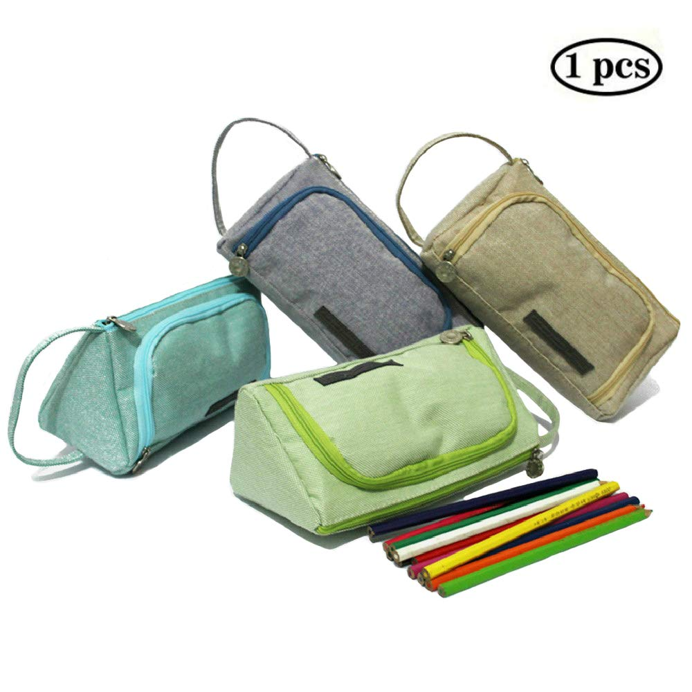 ERANLEE Big Capacity Pencil Bags Pen Case Student Office College Middle School High School Large Storage Bag Pouch Holder Box Organizer Green