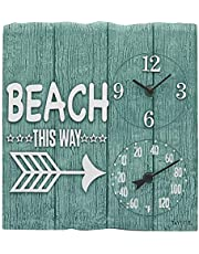"""Taylor Precision Products 92685T 14"""" x14 Poly Resin Beach This Way Clock with Thermometer, Multicolored"""