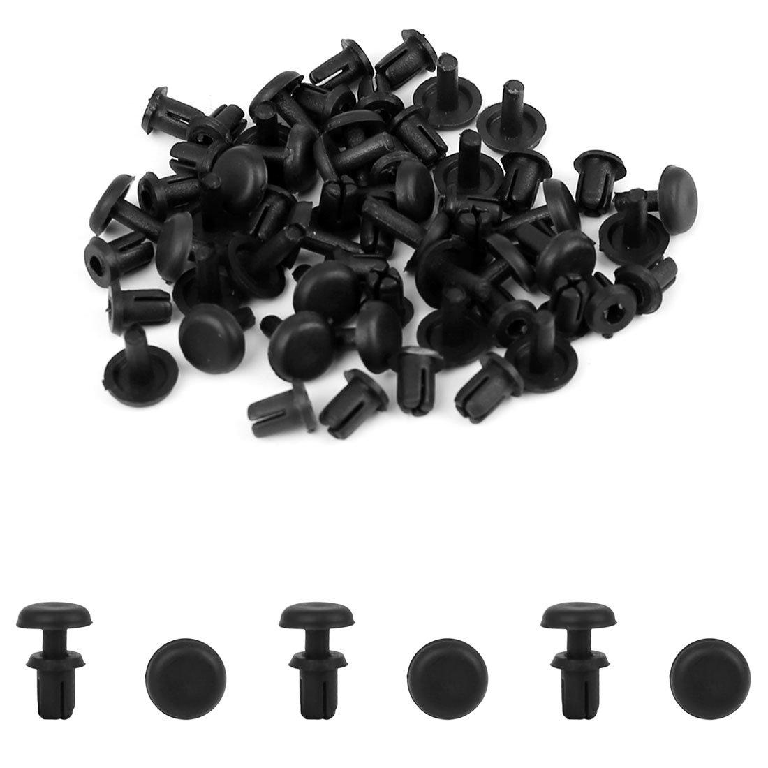 Sourcingmap 30Pcs 4mm Black Plastic Rivets Push Type Panel Retainer Fastener Clip for Car