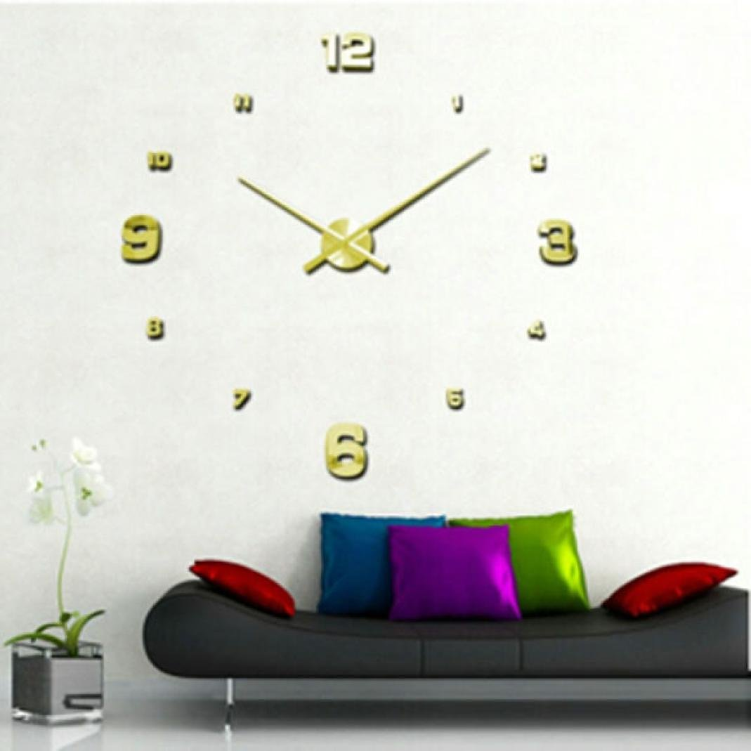 FZZ698 3D Diy Wall Clock, Mirror Surface Wall Sticker Home Office Decor Vintage Non Ticking Wall Clock Mirror Wall Decal Wall Sticker Room Home Decoration (B)