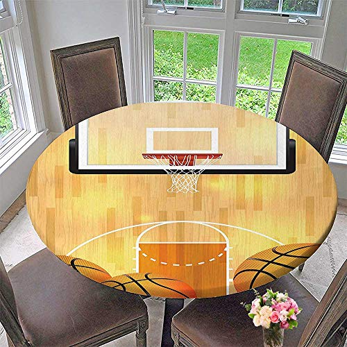- Mikihome Picnic Circle Table Cloths Collection Basketball Court Ball and Hoop Madness Rim Court Parquet Hardwood Picture Print for Family Dinners or Gatherings 47.5