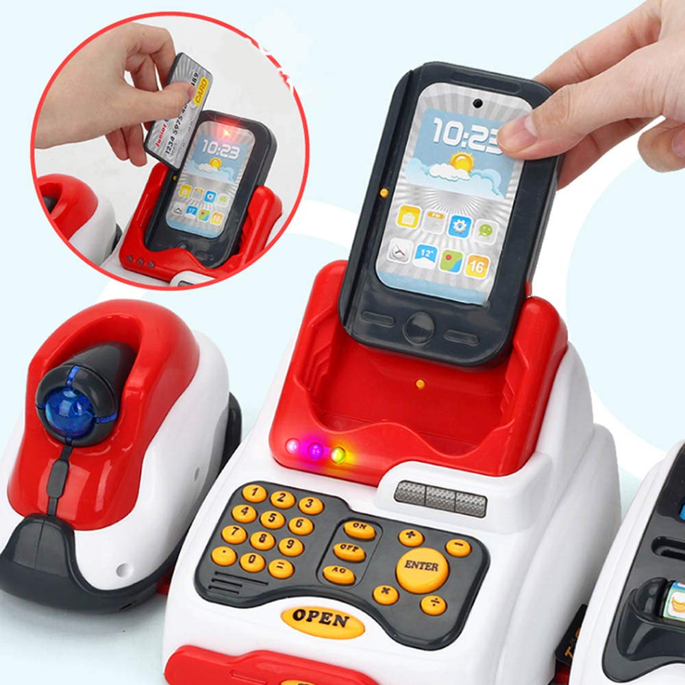 TiTa-Dong Kids Cash Register Toy Playset, Children Supermarket Checkout Toy with Lights Sounds Scanner Redit Card Reader and Groceries, Pretend Play Restaurant/Grocery/Supermarket Cashier Toy by TiTa-Dong (Image #3)