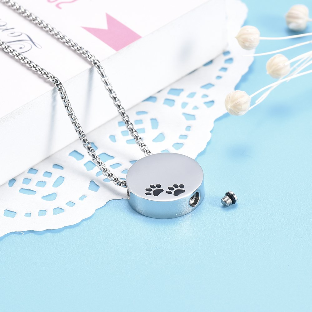 Double Black Dog & Cat Paw print Cremation Locket Jewelry Ashes Holder Urn Necklace For Pet by EternityMemory (Image #4)