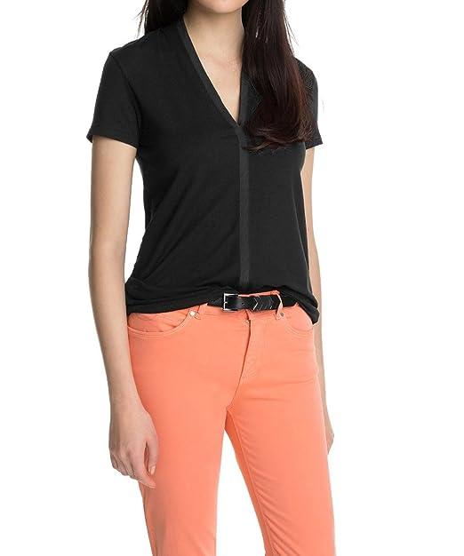 Esprit - Camiseta de licra con cuello de pico de manga corta para mujer, talla
