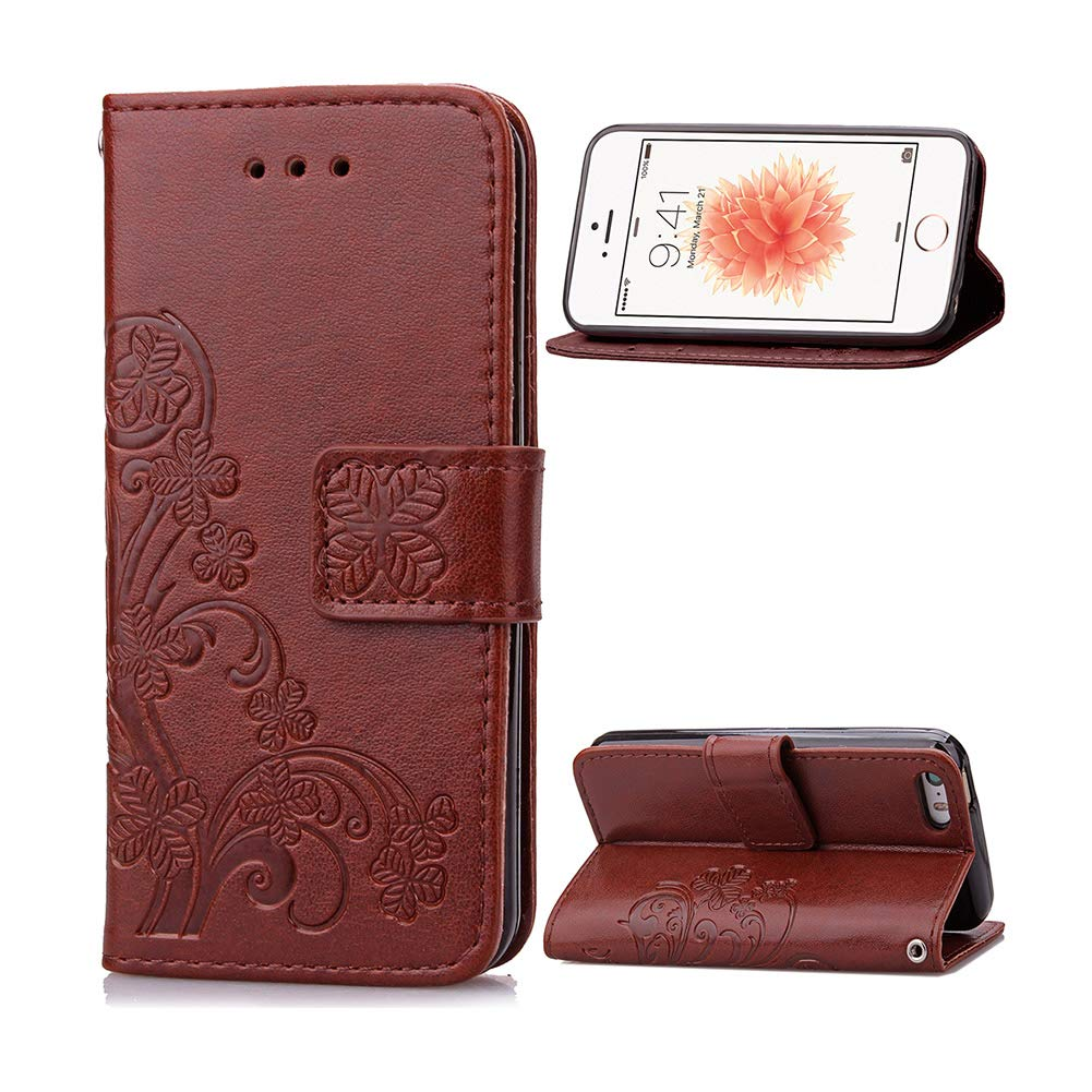 info for ec821 b969f iPhone SE Case, iPhone 5s Case, [Wrist Strap] Flip Folio [Kickstand  Feature] Embossed PU Leather Wallet Case Cover with Credit Card Pockets for  Apple ...