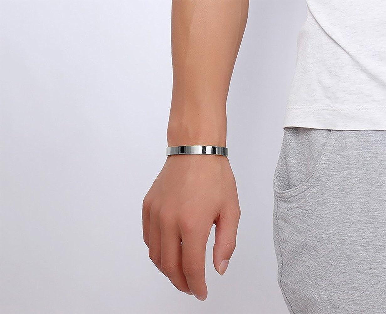 Stainless Steel Cuff Bangle Bracelet Link ID Bracelet Custom Engraving Customized Name ID Men Women