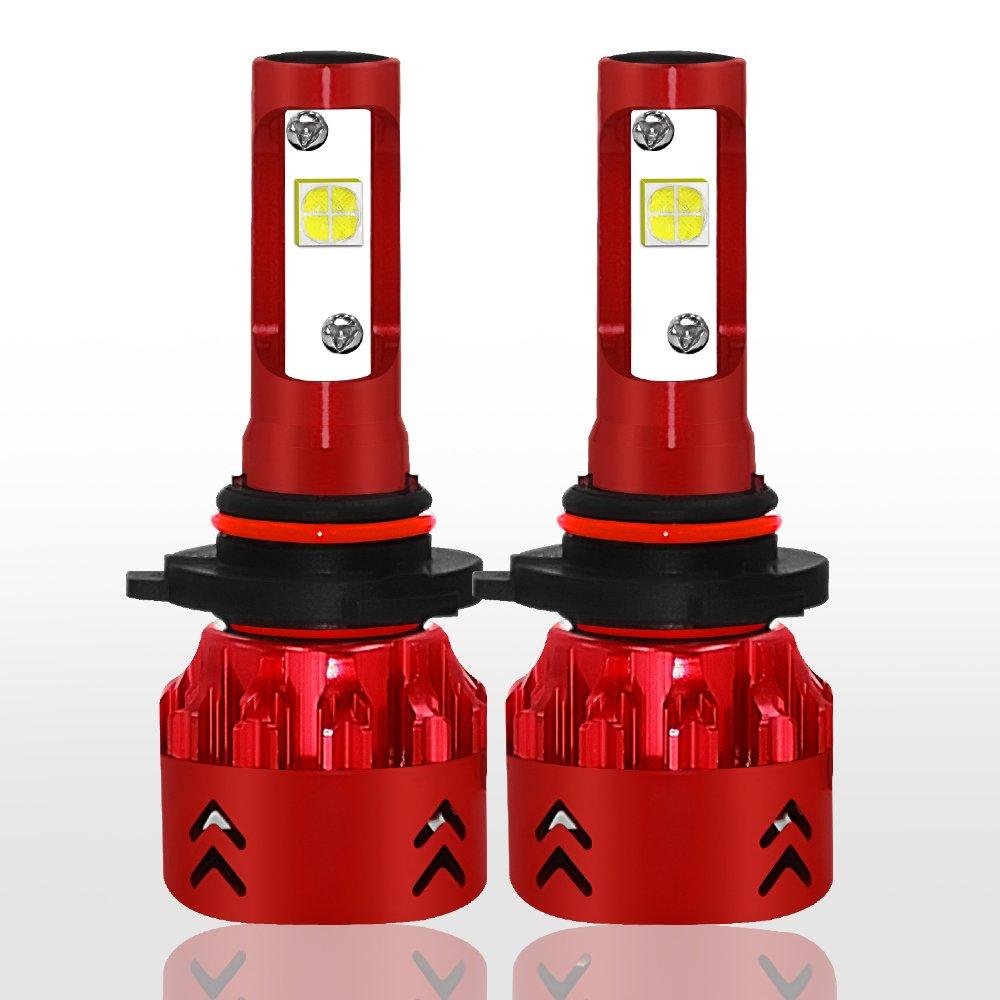 Hangang 9006 9005/H1 H4 H7 H11 LED Combo Headlight Bulbs Conversion Kits (2 sets) Flip COB Chips 120W 12800LM High Low Beam 6500K White Light (9006)