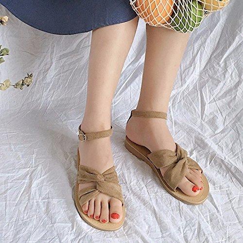 XIAOGEGE nuevo estudiante verano wild simple flat zapatos zapatos de mujer Beige