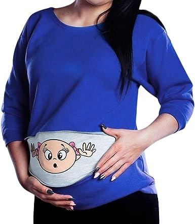 Vestidos De Embarazadas para Fotos YiYLunneo Camiseta para Mujer Top Maternidad Camiseta Divertido Estampada de Manga Corta Casual Falda Maternidad