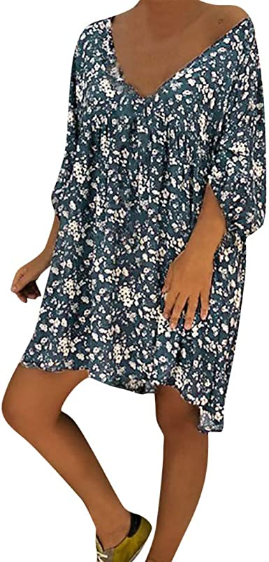 Boho Women Strappy V Neck Ladies Summer Beach Loose Mini Shirt Dress Plus Size