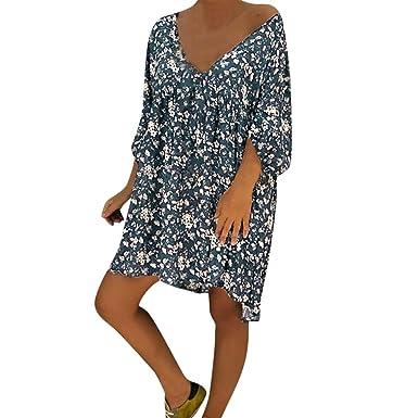 15f10c30983 Mlide Women s Summer Print Dress Sleeveless Bohemian Tunic Swing Loose Dress  Casual Style Feminino V Neck