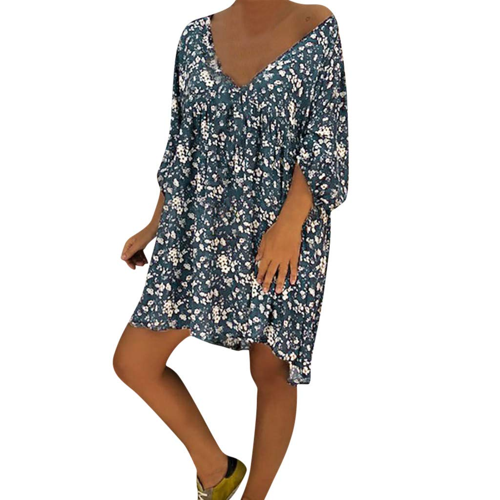 Forthery-Women T Shirt Dress Plus Size Floral Boho Summer Beach Swing Dress Sundress(Navy,Small)