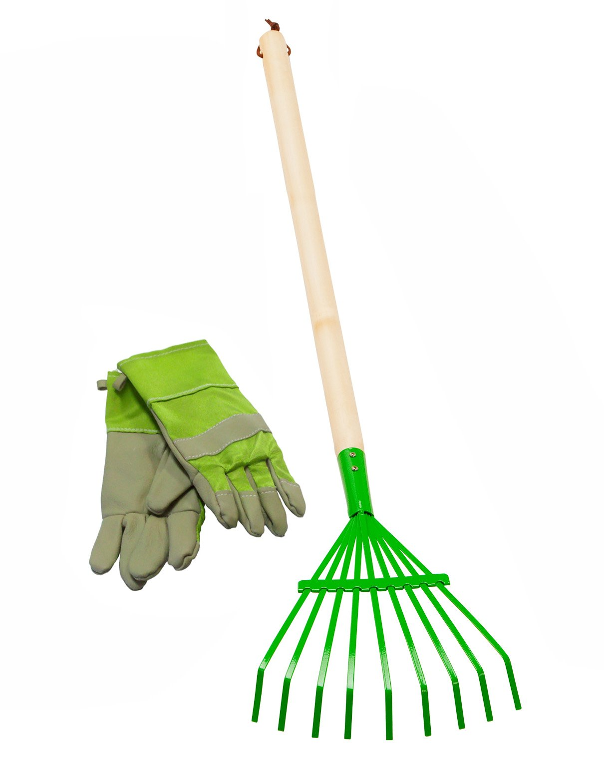 Morgan Cycle Kids 34'' Safe Metal Leaf Rake with Wood Handle and Leather Glove, Green