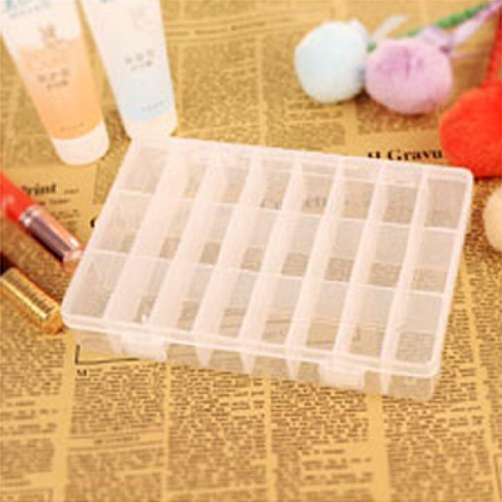 Morza 24 Compartiment Fente de Rangement en Plastique Bo/îte Container Perle Organisateur Bijoux Artisanat Case