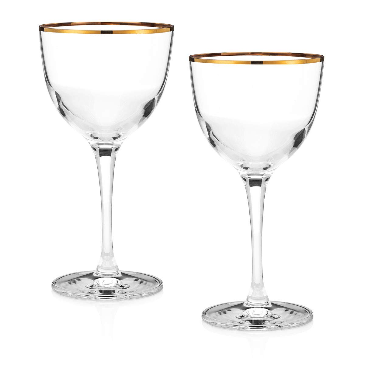 Gold-Rim''Nick and Nora'' Crystal Cocktail Glasses (Limited Edition Set of 2)