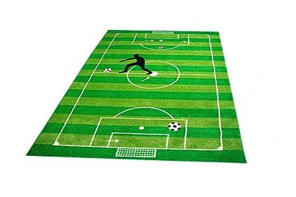 Tappeti Per Bambini Campo Da Calcio : Tappeto per bambini colorato design palloni da calcio pelo corto