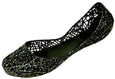 64ba7373f35919 Shoes8teen Womens Slip On Ballet Flats Jelly Shoes W Glitter Overlay 4530  Black 5