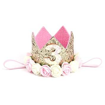 Accessoires Baby Haarband Stirnbänder Blumen Krone 1 Jahre Geburtstag Prinzessin Haarschmuck Kleidung, Schuhe & Accessoires