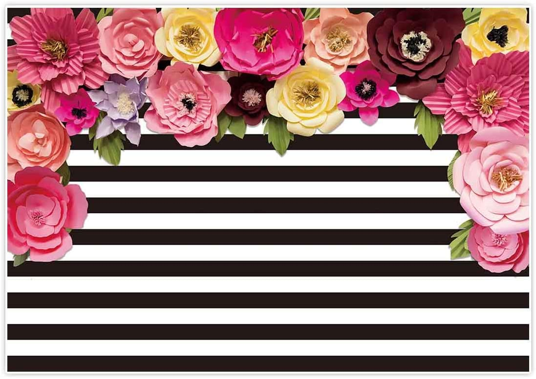 New 7x5ft Pink and White Striped Floral Birthday Party Backdrop for Photography Bridal Shower Baby Girl Baby Shower Party Decoration Photo Studio Booth Background Dessert Table Backdrops