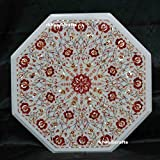 24'' Octagon White Marble Sofa Side Table Top Carnelian Stone Art Inlay Luxury Design