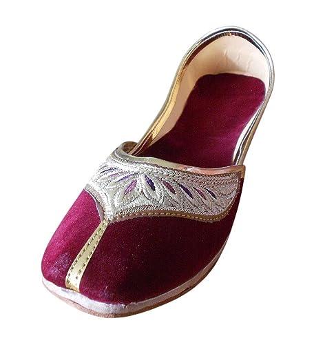 Kalra Creations pour femme traditionnelle indienne en velours Ballet Flats - Rouge - bordeaux ZbMCmu2Bd,