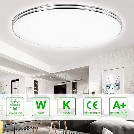 SMD 2835 runde Deckenleuchten mit silbernem Rand f/ür das Wohnzimmer Garage Flur Keller Treppenhaus B/üro 6500K kaltwei/ß Deckenleuchte f/ür die Unterputzmontage VIPMOON 18W LED-Deckenleuchte