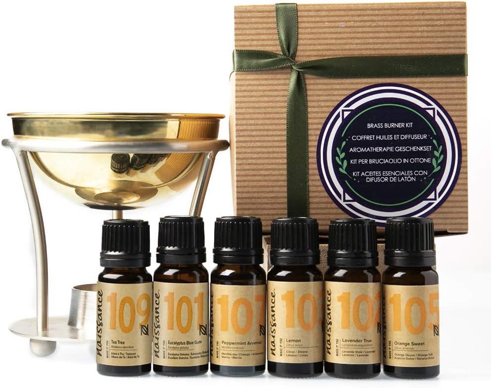 Naissance Difusor de Latón para Aromaterapia y 6 Top Aceites Esenciales Set Regalo con lavanda, árbol de té, limón, naranja, menta y eucalipto - Regalo ideal para alguien especial