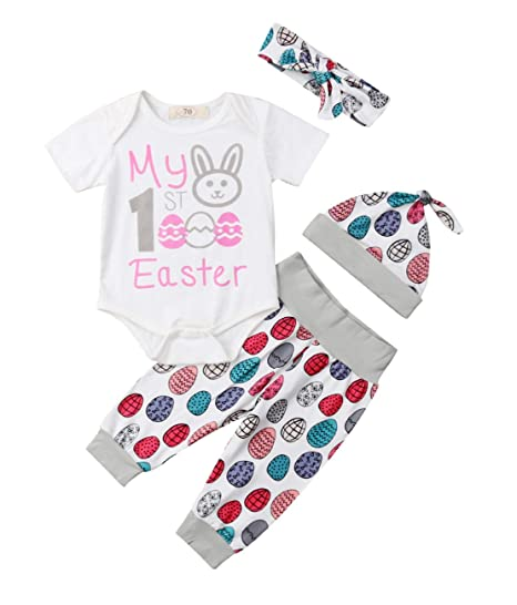 d528fe44db4d Unisex Baby 4 Pieces My 1st Easter Outfits Sets Easter Egg Print Romper  Pants Hat Headband