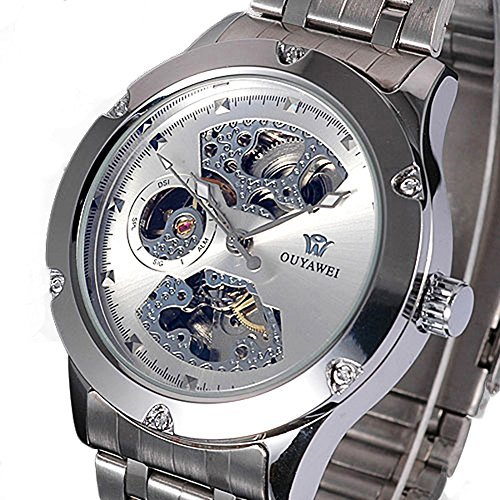 Skeleton Analog Silver Steel Band Mens Mechanical Automatic Wrist (Mens Steel Mechanical Watch)