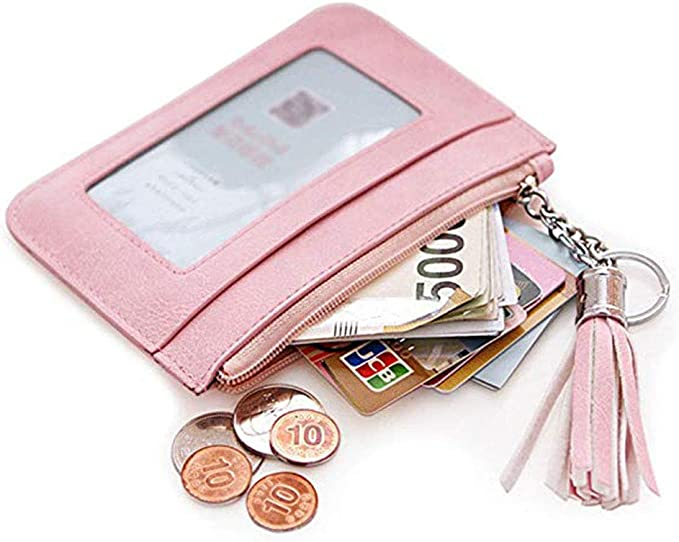 Amazon Com Id Card Holder Wallet For Women Keychain Small Leather Zipper Credit Card Pocket Mini Pink Coin Purse Slim With Key Ring Id Window