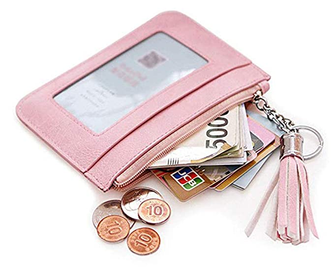 c0cc513561f ID Card Holder Wallet for Women Keychain Small Leather Zipper Credit Card  Pocket Mini Pink Coin Purse Slim with Key Ring ID Window