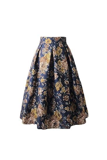 Jumojufol Mujer Retra Falda 50s Hepburn Estampada Floral Plisada ...