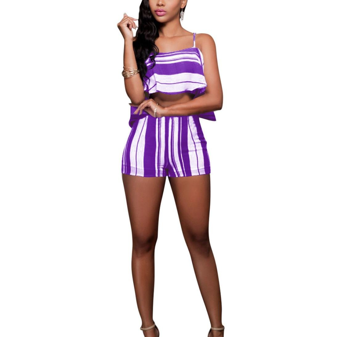 65dd822e2a5 Oksale Baby Girl s Crop Tops Ruffle Blouse Stripe Pants Slim Sling Set   Amazon.in  Clothing   Accessories
