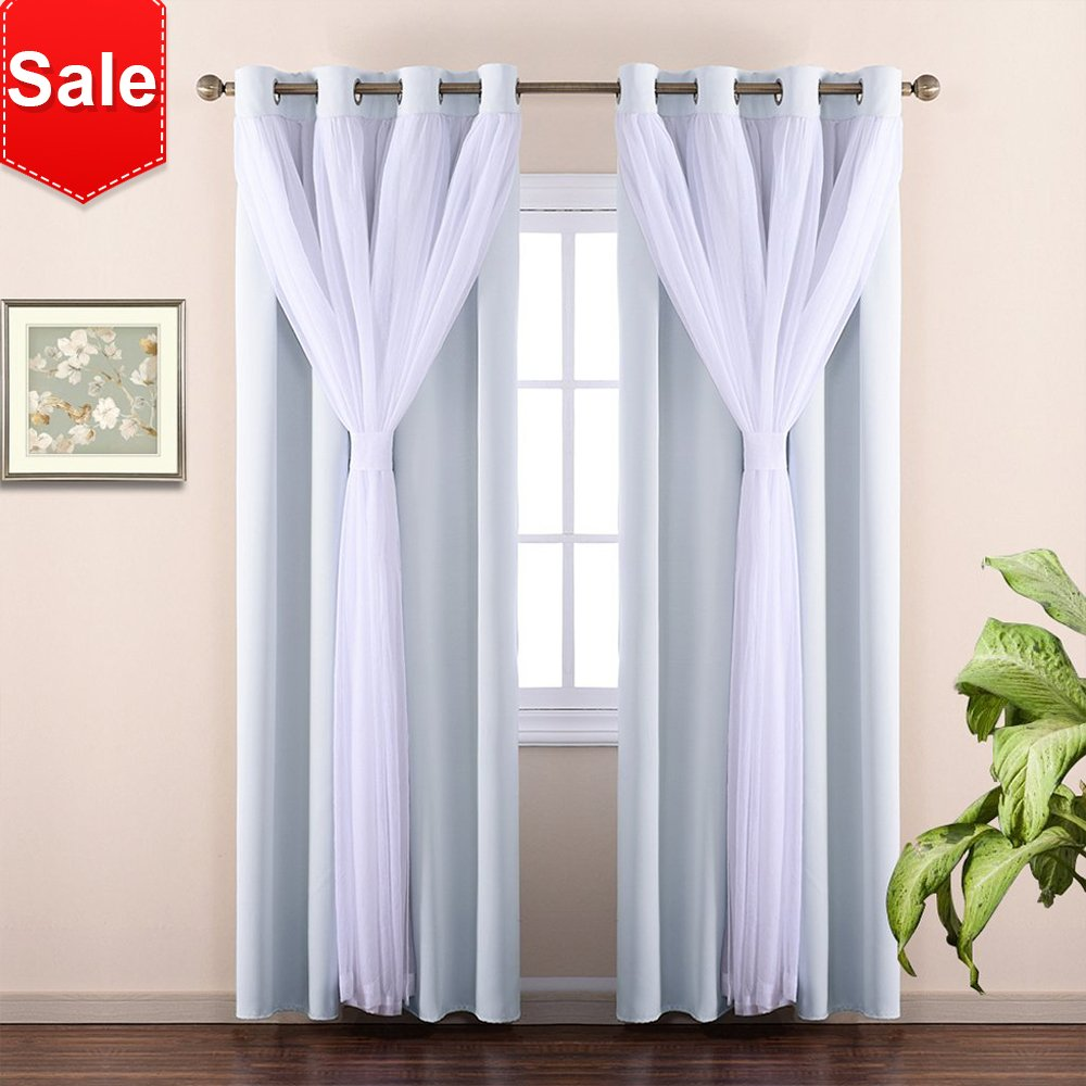 White 2 Pieces   95H NICETOWN White Sheer Voile & Blackout Drapes Assembled, Mix & Match Star Cut Curtain Panels With Versatile Styling Options for Dining Room, Guest Room (Greyish White, Each is W52 x L84, Sold by 2 Pcs)
