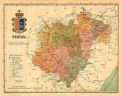 Provincia De Teruel Mapa.Amazon Com Teruel Aragon Mapa Antiguo De La Provincia