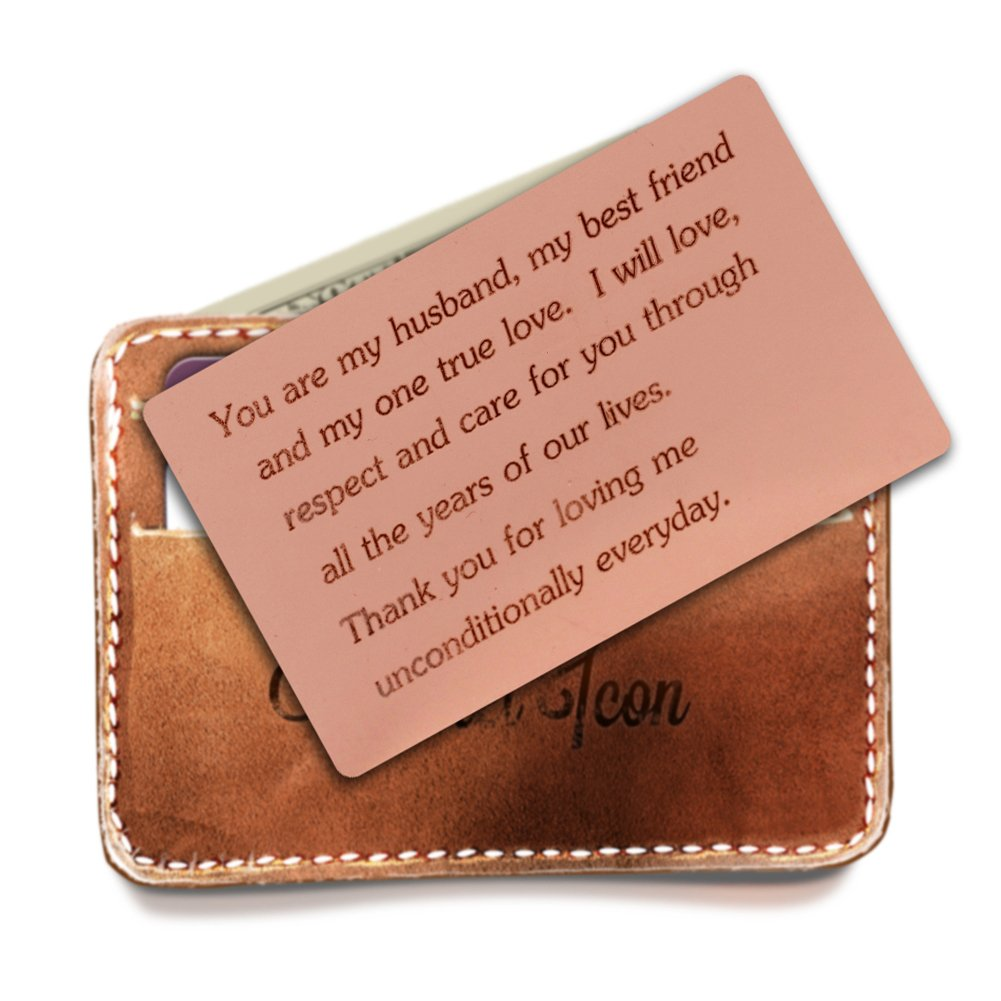 Engraved Stainless Steel Wallet Love Note Insert,Metal Wallet Card Insert,Mini Love Note,Deployment Gift for Him, Anniversary Gift