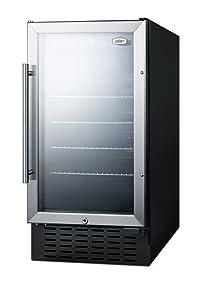 "Summit SCR1841B 18"" Built-In Undercounter Glass Door Beverage Center with Lock, Glass/Black"