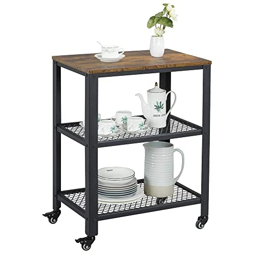 Topeakmart 3-Tier Industrial Trolley Cart with Storage Shelf, Rolling Kitchen Utility Cart on Wheels, Wood Home Furniture with with Metal Frame