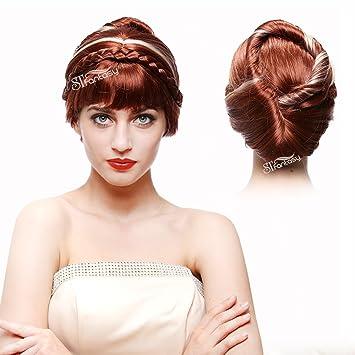 Amazon.com  STfantasy Frozen Anna Coronation Wig Braid Updo Bun for ... 6d39b764e