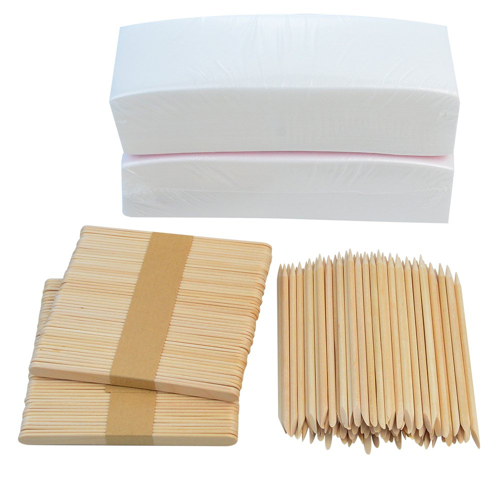 200 PCS 3''x8'' Waxing Strips Non-woven Wax Strip, baotongle Hair Removal Wax Strips and 200 PCS Wax Applicator Sticks
