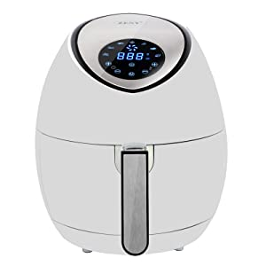ZENY 1500W Electric Air Fryer w/Touch Screen Control 3.7QT, 7 Presets, w/Recipes & CookBook (White)
