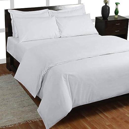 400 hilos 4 piezas Juego de sábanas (blanco sólido, Reino Unido ...
